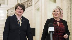 Northern Ireland First Minister Arlene Foster and Deputy First Minister Michelle O'Neill said they will take advice about their St Patrick's trip to the US (Liam McBurney/PA)