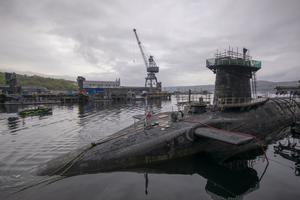 The submarine is based as Faslane on the Clyde (PA)