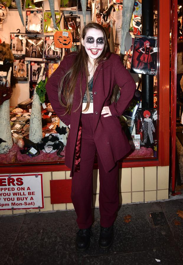 Ellie Beattie wears her Joker outfit yesterday