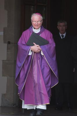 Bishop Donal McKeown after the Requiem Mass at the Immaculate Conception Church in Strabane