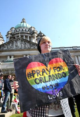 Crowds gather at Belfast City Hall to remember those who died in the Orlando massacre