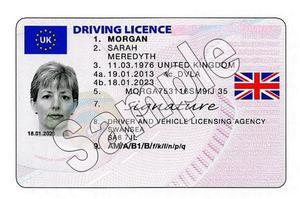 A sample of the new look British driving licence