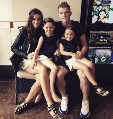 Northern Ireland captain Steven Davis with wife Tracey and daughters Chloe and Kaia