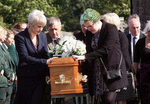 Colette and her other daughter Lisa during the funeral at St Patrick's Church last month