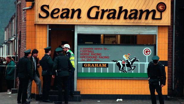 The scene at the Sean Graham bookmakers shooting in 1992.