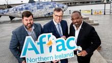 Launch: Keith Farley, vice president of Aflac NI, Alastair Hamilton, CEO of Invest NI, and Virgil Miller, executive vice president of Aflac US, pictured last October after it was announced Aflac would be opening a technology innovation centre in Belfast