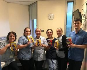 Hospital staff with Easter eggs from the Eilish Degnan Cancer Foundation