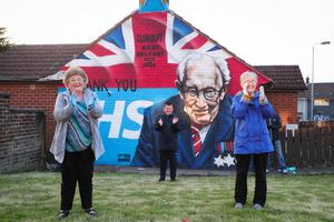 Residents from the Clonduff estate in east Belfast including Carol Meekin and Margaret Simpson