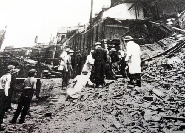Sam Bargewell's destroyed Belfast home after the blitz in 1941