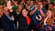 Sinn Fein leader Mary Lou McDonald celebrates party wins during the Republic's election