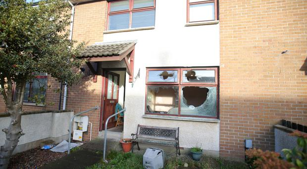 Windows and the front door were smashed after a gang attacked five men in a house in Hollybank Drive in Newtownabbey on Sunday evening