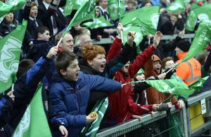 Fans during an open training session at the Kingspan Stadium in Belfast
