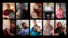 An image from a special fundraising video shows members of the Blackwater Ceili Band playing in their own homes