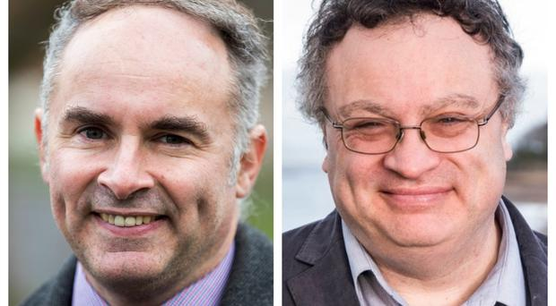 Alex Easton, left, and Stephen Farry are expected to be the front runners in the race to replace outgoing North Down MP Lady Sylvia Hermon (PA)