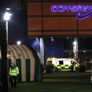 A medical tent and ambulances outside the Odyssey Arena in Belfast, as up to 60 young people attending at concert there became ill