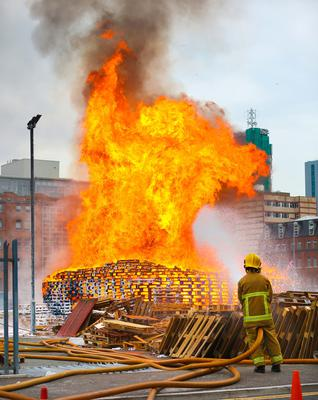 Blaze: Firefighters at Sandy Row pyre