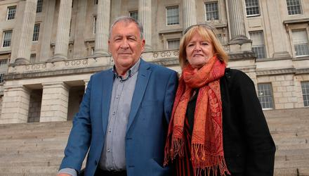 Pete and Sadie Keogh who lost their son, Lewis, to suicide after a gambling addiction at Parliament Buildings, Stormont, for the Gambling with Lives launch of the independent Education Pilot Programme. Pic: William Cherry/Presseye/PA Wire