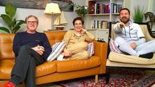 Gogglebox duty: Stars of Belfast cop drama hit the viewing sofa for charity.