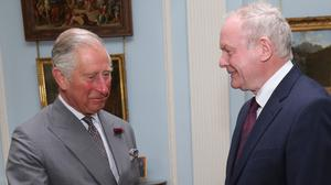 The Prince of Wales with the late Martin McGuinness at Hillsborough Castle, County Down on May 24, 2016.