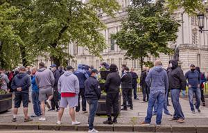 The cenotaph protection demonstration held at Belfast City Hall on Saturday, June 13