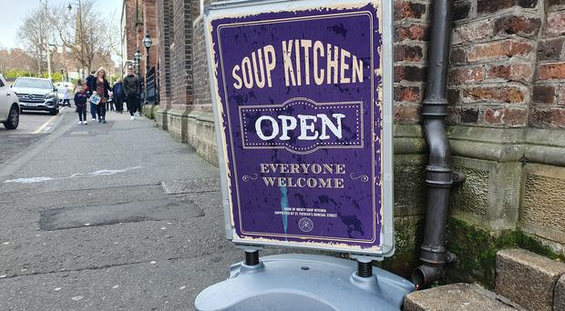 Dozens of people were fed Christmas lunch at a soup kitchen in Belfast (Rebecca Black/PA)