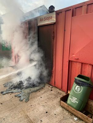 The aftermath of an arson attack at the St James' Aldergrove GAA club premises in Crumlin, Co Antrim, at the weekend