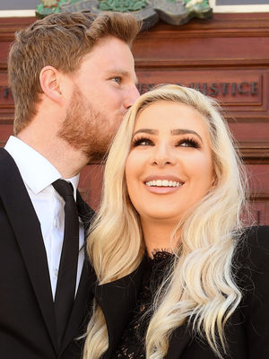 Model Laura Lacole at a previous hearing at t Belfast High Court with fiance Eunan O'Kane