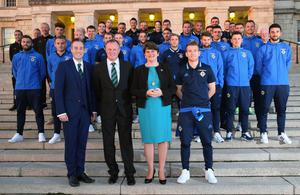 First Minister Arlene Foster and Sports Minister Paul Givan welcome Northern Ireland manager Michael O'Neill, captain Steven Davis and squad to a Stormont reception last night