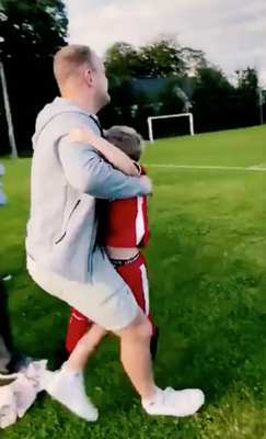 Emotional: Irish Guardsman Lance Corporal Laverty surprises his son on a visit home to Northern Ireland