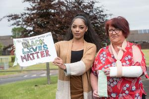 Blathnaid O'Donnell and her mum Helen who both were issued with fines when they attended the Black Lives Matter protest in Londonderry