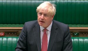 Day of drama: Boris Johnson in Commons yesterday