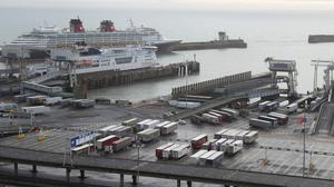 Lorries and trailers parked up inside the Port of Dover, Kent (Andrew Matthews/PA)