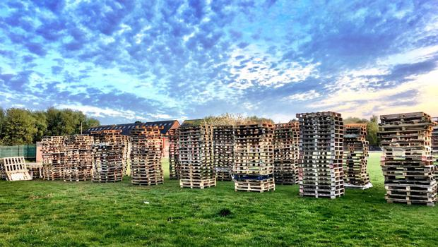 Bonfire material at Inverary playing fields in east Belfast