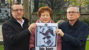 The family of Eddie Doherty outside Belfast Coroner's Court (left to right) Patrick Doherty, Kathleen McCarry and John Doherty (Rebecca Black/PA)