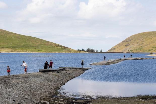 Low water levels at Spelga dam. Pic Liam McBurney PA