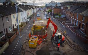 Pipeline works outside Windsor Park that have caused issues with the local bus service