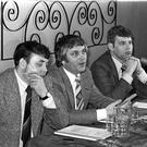 Glen Barr (centre) with Tommy Lyttle (left) and John McMichael during the 1974 strike
