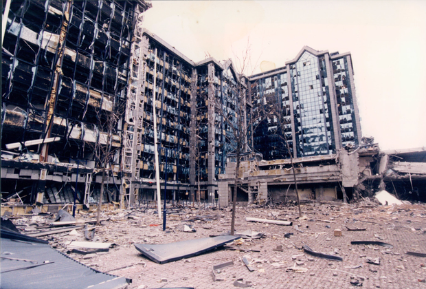 The devastation caused by the IRA's 1996 Docklands bombing in London