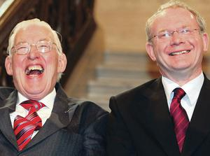 Chuckle Brothers: Ian Paisley with Martin McGuinness, the dream team as First Minister and Deputy First Minister