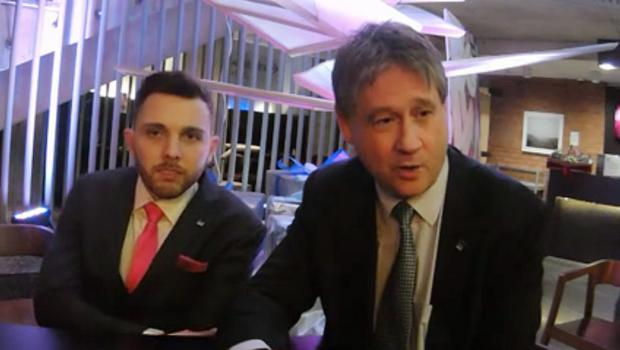 Johnny McCarthy, left, with NI21 leader Basil McCrea at their party conference.