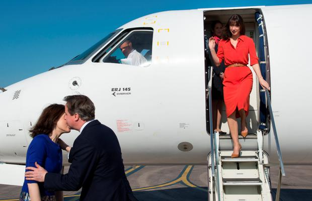 Samantha and David Cameron touch down in Belfast