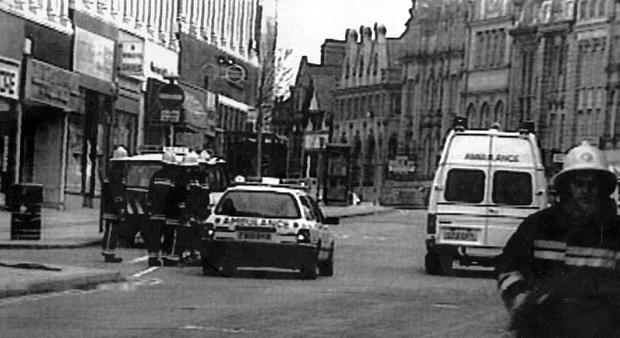 Emergency services at the scene of a bomb blast in Warrington 1993 in which Colin Parry's son Tim was killed