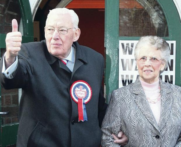 Good result: Paisley with his wife Eileen after voting in the 2007 election