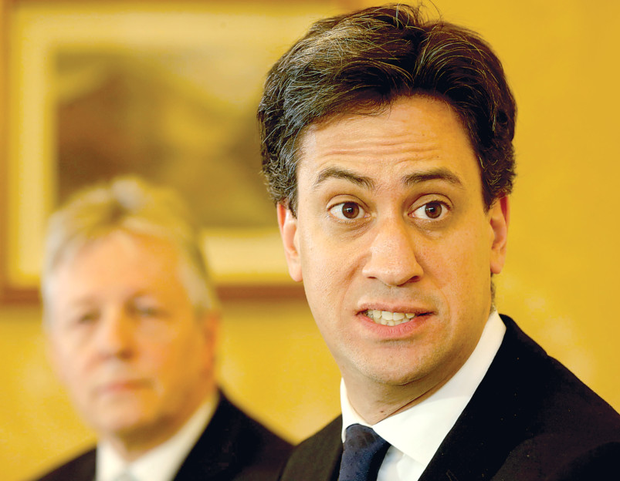 Labour leader Ed Miliband holds a Press conference with First Minister Peter Robinson at Stormont Castle yesterday