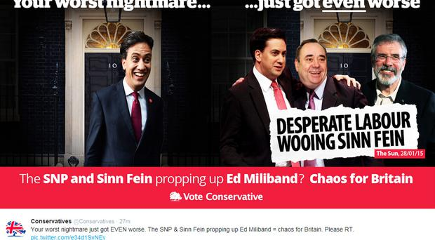 Mocked-up Twitter image from the Tories poking fun at Labour over its alleged wooing of Sinn Fein and Scottish nationalists