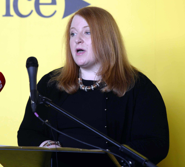 East Belfast MP Naomi Long addresses those gathered for the Alliance Party's general election manifesto launch yesterday