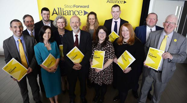 Poll bid: Alliance candidates with David Ford at the launch of the party's manifesto