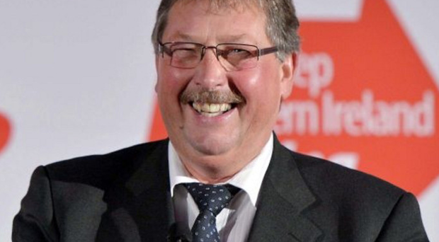 Party mood: Sammy Wilson