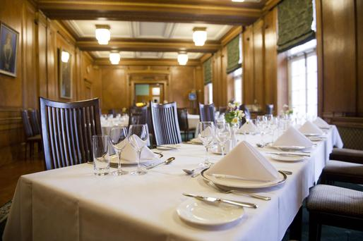 The oak-panelled fine dining room at Stormont