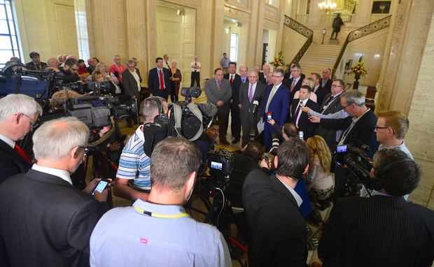 UUP leader Mike Nesbitt at Stormont yesterday as he announces that the party will be leaving the Stormont Executive PACEMAKER